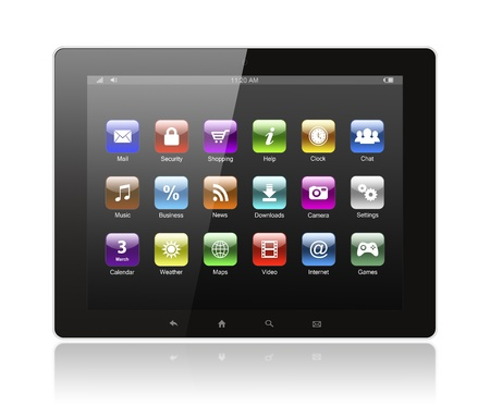 Tablet pc with icons on white background  photo