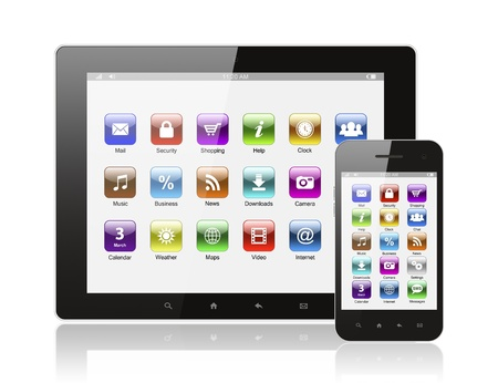 Tablet pc and smart phone with icons on white background  Stock Photo