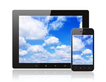 Tablet pc and smart phone with blue sky on white background Stock Photo