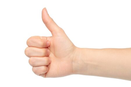 Woman hand with thumb up isolated on white background Stock Photo - 15802799