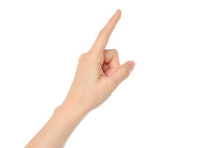 dedo se�alando: Mano de la mujer sobre fondo blanco