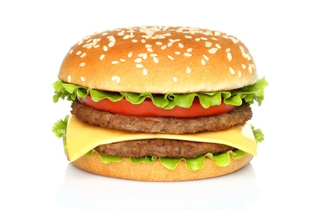 Big hamburger on white background photo