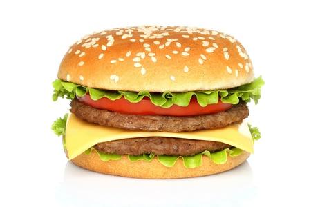 burger bun: Big hamburger on white background
