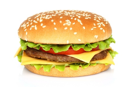 cheeseburgers: Big hamburger on white background