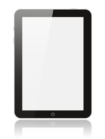 Black digital tablet pc on white background