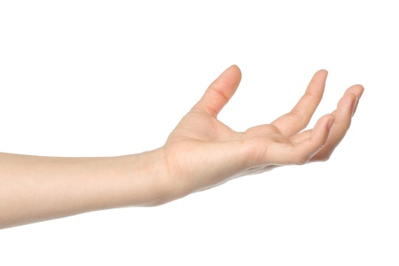 interdigital: Open woman hand on white background Stock Photo