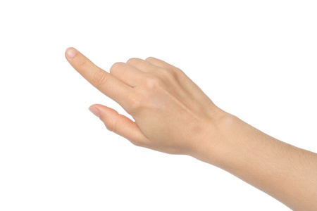 first finger: Woman hand on white background