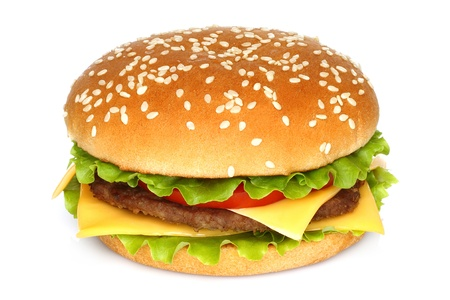 Big hamburger on white background