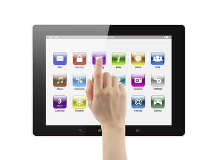 Hand pushing icon on tablet pc on white background photo