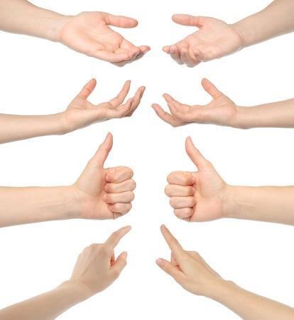 raising hand: Collage of woman hands on white background