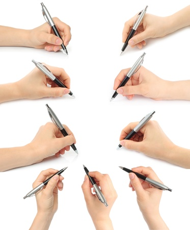 Collage of hands with pens on white background Imagens