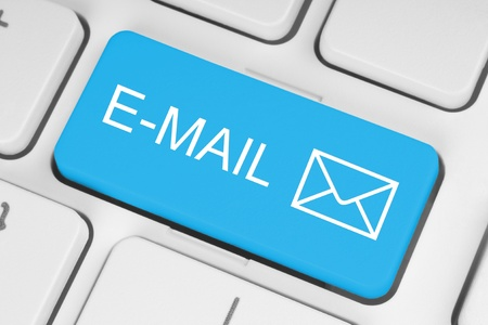 email contact: Mail keyboard button on grey keyboard