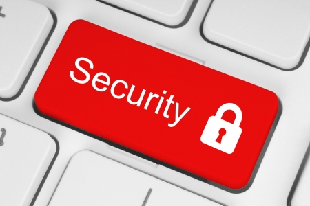 password security: Red security button on the keyboard