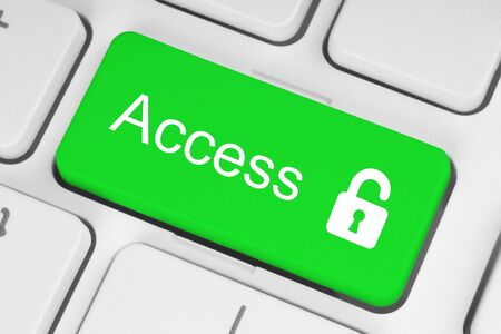Open lock green button on the keyboard, access concept Stock Photo - 16579119