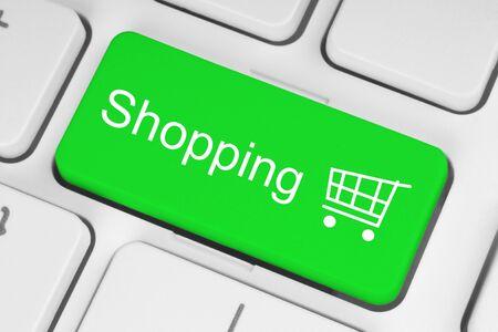 Shopping cart icon on green keyboard key  Stock Photo