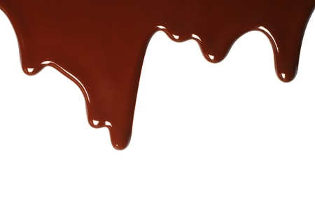 Melted chocolate dripping on white background  Imagens