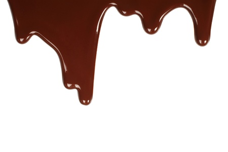 Melted chocolate dripping on white background  Stock Photo