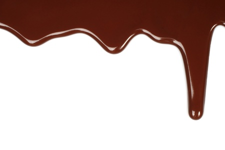 drippings: Melted chocolate dripping on white background  Stock Photo
