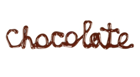 Chocolate word made of liquid chocolate on white background