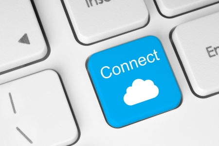 Connect to cloud concept on blue button of the keyboard  photo