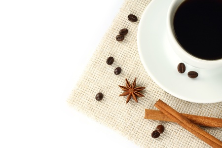 anisetree: Coffee with beans, cinnamon and anise on white background  Stock Photo
