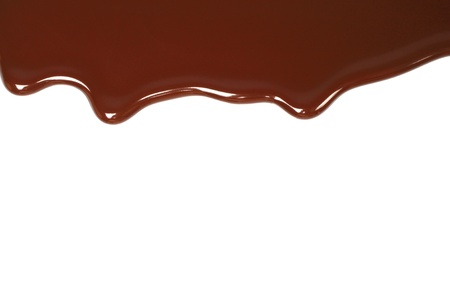 chocolate background: Melted chocolate dripping on white background  Stock Photo
