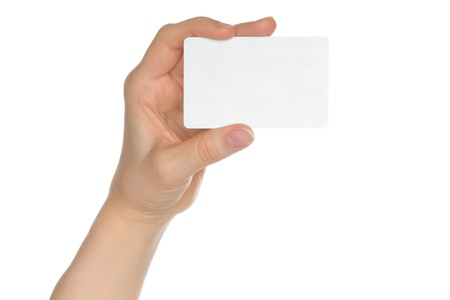 Hand holds charge card on white background  Stock Photo