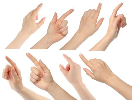 dedo indice: Manos de mujer sobre fondo blanco