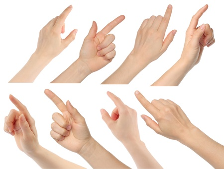finger pointing: Woman hands on white background
