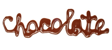 Chocolate word made of liquid chocolate on white background   photo