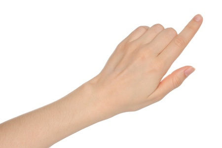 finger pointing: Woman hand on white background
