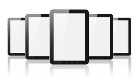 Many digital tablet pc on white background Stock Photo - 17569810
