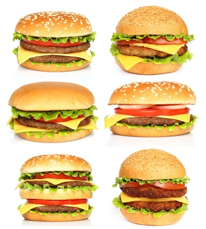 cheeseburgers: Big hamburgers on white background  Stock Photo
