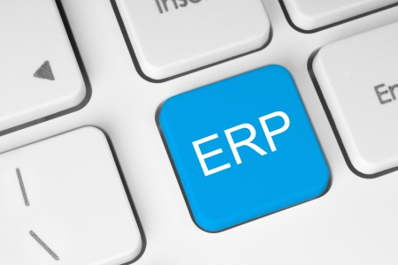 Blue ERP keyboard button Stock Photo