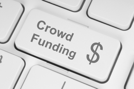 crowd sourcing: Crowd funding button on keyboard