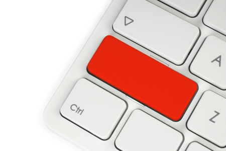 Blank red button on the keyboard close-up  photo