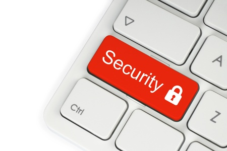 Red security button on the keyboard on white background Stock Photo - 18023917