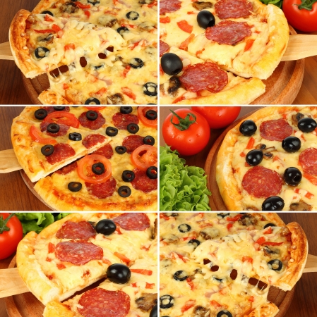 Pizza set on wooden paddle   photo