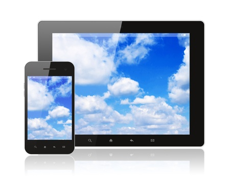 Tablet pc and smart phone with blue sky on white background Stock Photo - 18023757