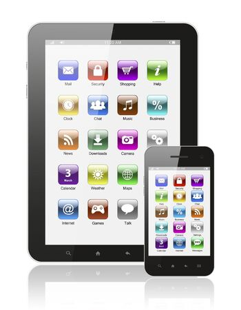 Tablet pc and smart phone with icons on white background   photo