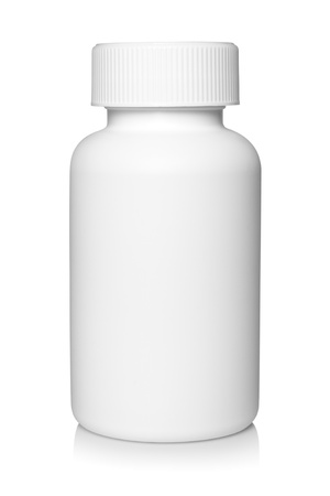 pill box: White medical container on white background