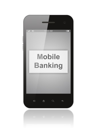 Smart phone with mobile banking button on its screen isolated on white background Stock Photo - 18546277