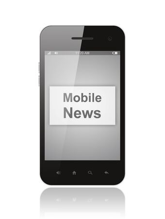 Smart phone with mobile news button on its screen isolated on white background     photo