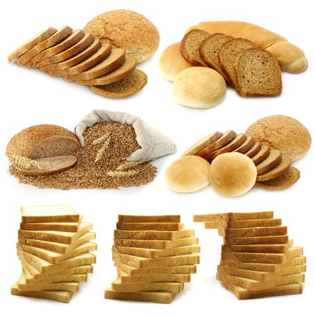Bread and loafs set on a white background  photo