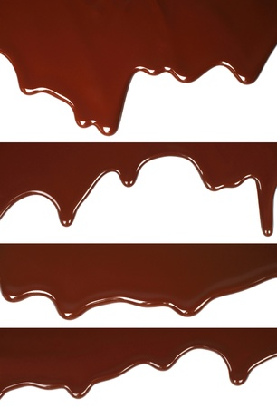 chocolate melt: Melted chocolate dripping set on white background