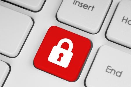 Red security button on the keyboard Stock Photo - 18936907