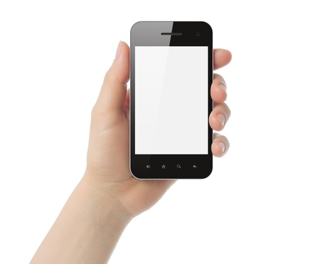 using phone: Hand holding smart phone isolated on white background Stock Photo