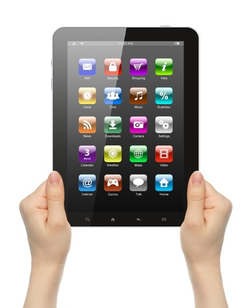 woman tablet pc: Woman hands holding tablet PC with icons on white background
