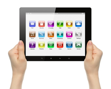 Woman hands holding tablet PC with icons on white background   photo