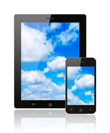 Tablet pc and smart phone with blue sky on white background  Stock Photo - 19351027